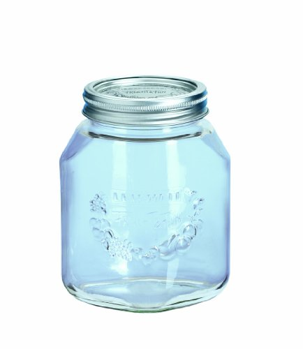 Leifheit 36303 4-Cup Preserve Jar, 1-Liter, Set of 6