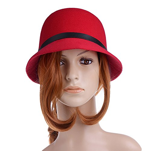 Vbiger Women Woolen Fedora Bowler Hat (Red 2) (Kids Red Bucket Hat)