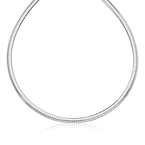 NYC Sterling Unisex 4mm Omega Chain Necklace in Sterling Silver (16