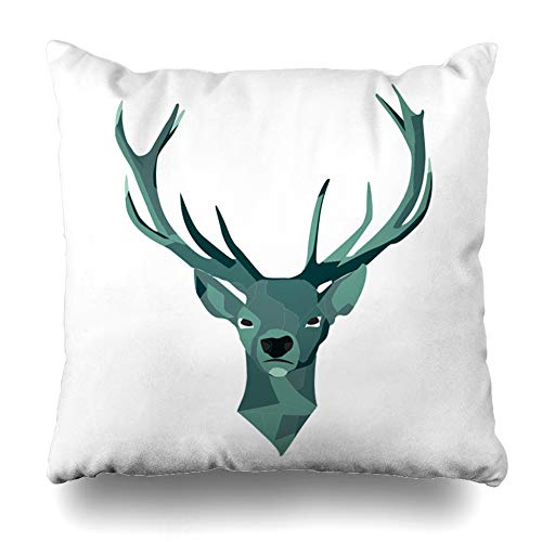 LALILO Throw Pillow Covers, Stag Head from Front Animal Art Deer Stag Graphic Head Horn Double-Sided Pattern for Sofa Cushion Cover Couch Decoration Home Gift Bed Pillowcase 16x16 inch