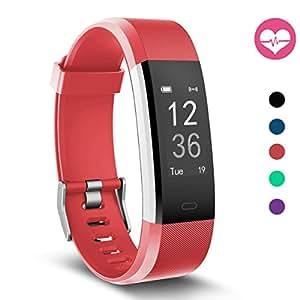 Fitness Tracker, MoreFit Slim HR Plus Heart Rate Smart Bracelet Pedometer Wearable Waterproof Activity Tracker Watch, Silver/Red