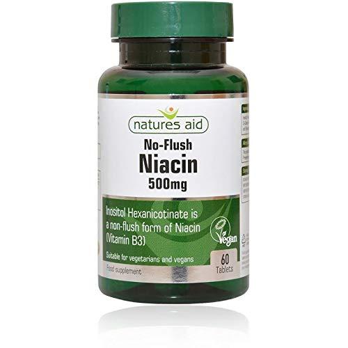 Natures Aid Niacin (B3) 500mg (No Flush) 60 Tabs - 2 Pack