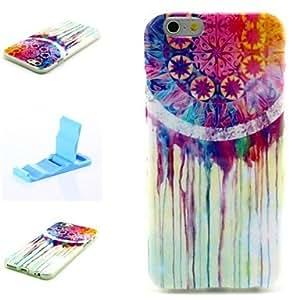 ZXM- lágrimas de colores patrón de silicona suave cubierta y mini diaplay soporte para el iPhone 6