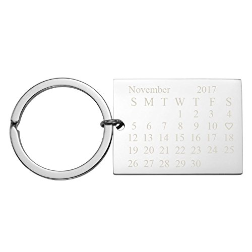Personalized Master Free Engraving Custom Date Calendar Heart Keychain, Custom Date Pendant Key Ring Lovers Couples Valentine's Day Birthday Anniversary Christmas Special Day ()