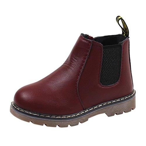 Transer® Kinder Schuhe Mädchen Jungen Flat Warm Walkingschuhe Sneakers Casual Autumn Winter Martin Stiefel mit Reißverschluss (Bitte eine Nummer größer bestellen) Wein