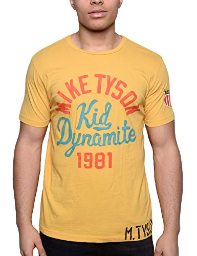 Roots of Fight Officially Licensed Men's Mike Tyson Kid Dynamite Yellow Tee, Size Large - Fight Mens Tee
