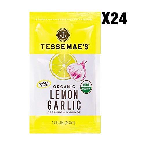 Tessemae's Organic Lemon Garlic Dressing 24 pack of 1.5 oz single serve packettes, Whole30 Certified, USDA Organic, soy-free, dairy-free, gluten-free, sugar-free, vegan