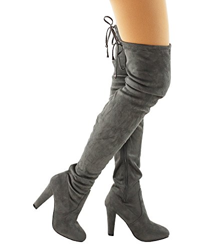 RF Radiance-01 Women Fashion Comfy Vegan Suede Block Heel Side Zipper Thigh High Over the Knee Boots GREY (7)