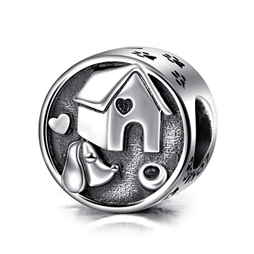 (LONAGO Devoted Dog Curious Cat Paw Prints Charm 925 Sterling Silver Enamel Animal Bead Fit Pandora Bracelet Necklace Jewely for Cat/Dog Lovers (My Sweet Pet - House Dog))