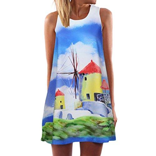 Vestidos Casual,Sonnena Vintage Mujeres Bohemios Verano Suelto sin Mangas 3D Floral Print Bohe Tanque Mini Vestido de Playa Fiesta para Chicas Joven F