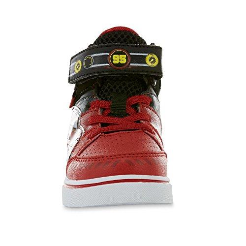 Image of Disney Pixar Toddler Boys Cars Lightning McQueen Red Black Light-Up High-Top Sneaker