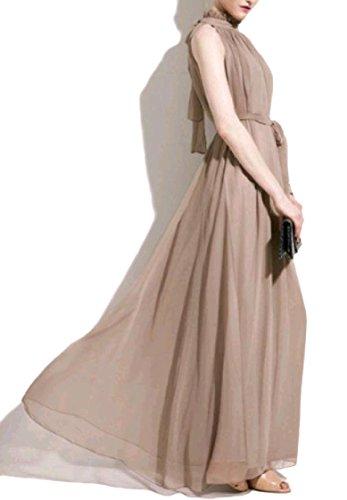 Coolred-femmes Sans Manches Robe De Bal En Mousseline Mode Stand Kaki Longue Robe Maxi Col