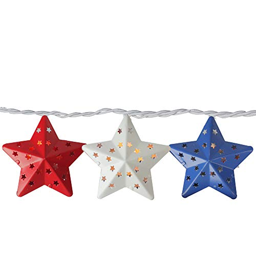Set of 10 Red and Blue Metal 4th of July Star String Lights - 7.25 ft White Wire]()
