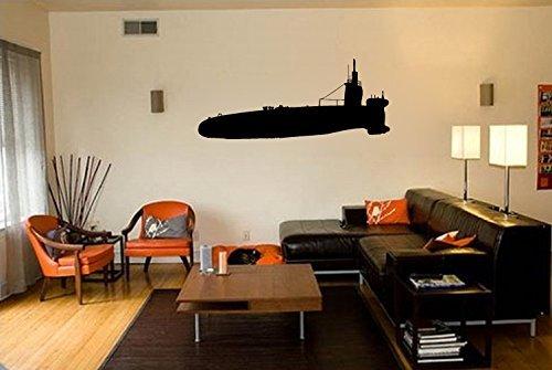 Military Ocean Submarine Silhouette Vinyl Wall Decal Sticker ()