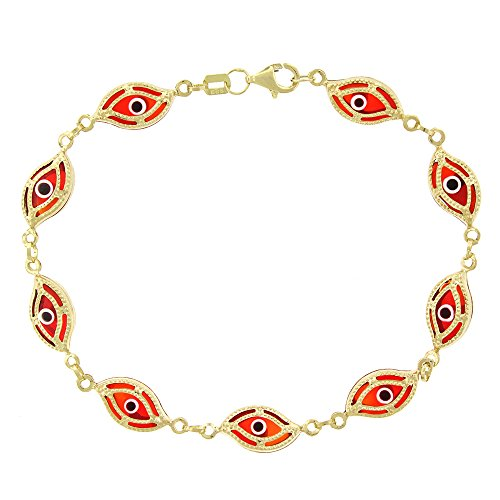 14k Yellow Gold Womens 7mm Clear Red Evil Eye Good Luck Charm Bracelet Chain 7.5'' by In Style Designz