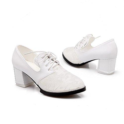 AllhqFashion Damen Rein Blend-Materialien Mittler Absatz Rund Zehe Schnüren Pumps Schuhe Weiß