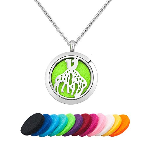 Third Time Charm Giraffe Essential Oil Diffuser Necklace Locket Pendant Aromatherapy Jewelry, 12 Refill Pads Time Giraffe