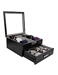 Decorebay Luxury Wooden 9 Watch Box Collection Jewelry Tie Storage Box Valet Organizer (Handsome)