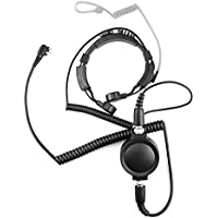 WGCD Professional Flexible Throat Mic Microphone Covert Acoustic Tube Earpiece Headset With Big Rounded Waterproof PTT For Motorola 2 PIN Two Way Radio GP CLS CP CT etc.
