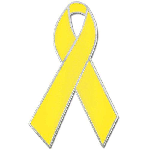 PinMart Yellow Awareness Ribbon Enamel Lapel Pin (Lapel Support Ribbon Pin)