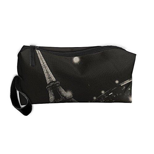 Mr.Roadman Coin Pouch Paris Black Night Art Pencil Holder Clutch Wristlet Wallets Purse Portable Storage Case Zipper Makeup Cosmetic Bags ()