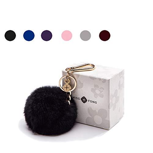 Pom Pom Key Chain Women by Miss Fong,Puff Ball Keychain in Genuine Fox Fur, Bag Charm Gold Ring Fur Ball - Handbag Fur Womens
