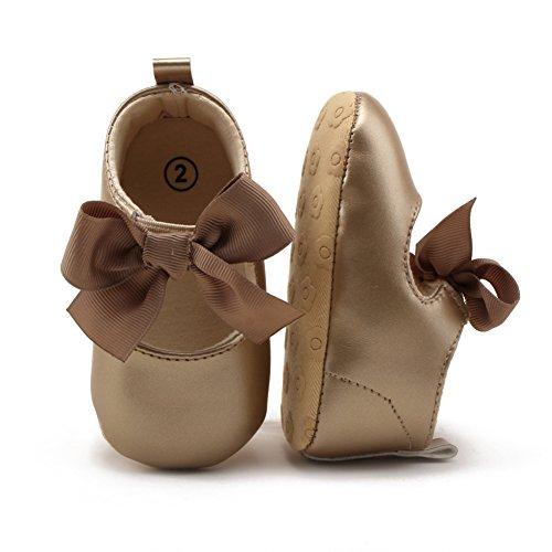 Luerme Zapato de Primer Paso Diseño con lazo Sandalias de Bebé-niña Zapato para verano Dorado