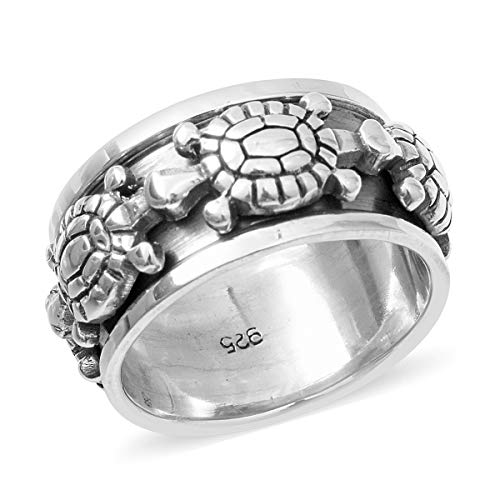 Womens 925 Sterling Silver Tortoise Spinner Band Ring for Women Jewelry Gift Size 7