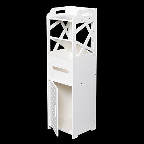 3-tier Bathroom Storage Cabinet – Bathroom Cabinet, Wall Mount Storage Cabinet with Double Doors, Wall Cabinet, Wood Medicine Cabinet,Bathroom Floor Storage Cabinet(White)