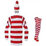 THYLL Cos Waldo Beanie Halloween Cosplay Shirt Costume,Funny Sweatshirt,Hoodie Outfit Glasses Hat Suits Adult Kids