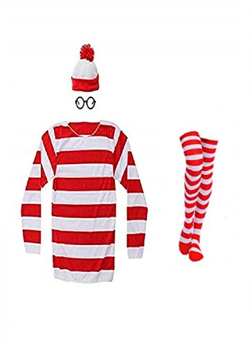THYLL Cos Halloween Cosplay Shirts, Where's Waldo Costume, Red and White Striped Shirt, Funny Sweatshirt, Glasses Hat -