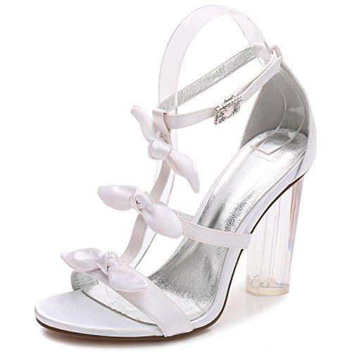 Zapatos De Boda De Las Mujeres F2615-2 Peep-Toe Fiesta De Baile Plataforma De Cristal De SatéN/Tacones Altos Personalizados Blanco