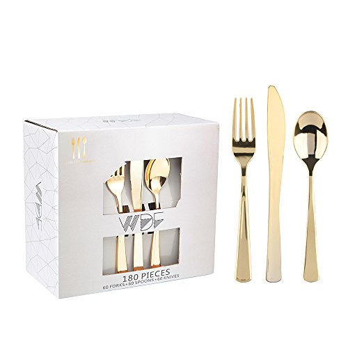 180 Pieces Disposable Plastic Gold Silverware Cutlery, Gold Plastic Flatware 60 Forks, 60 Knives and 60 Spoons -WDF (Gold) (Gold cutlery)
