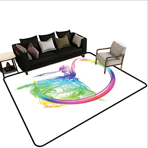 Indoor Floor mat,Smoke Dance Shape Silhouette of Dancer Ballerina Rainbow Colors Fantasy 6'x8',Can be Used for Floor Decoration]()