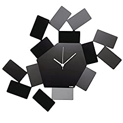 Alessi Aleesi MT19 B Stanza Scirocco Wall Clock, Black
