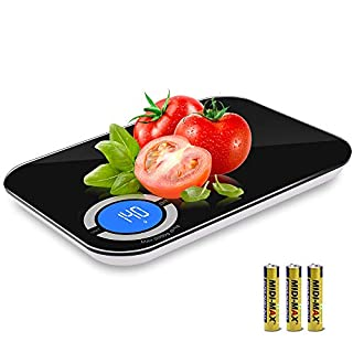Food Scale, 11lb Digital Kitchen Scale Weight Grams and oz for Cooking Baking, 1g/0.05oz Precise Graduation in oz, lb'oz, g, kg, ml/water/milk, Tempered Glass Big Panel and Large Backlit LCD Display