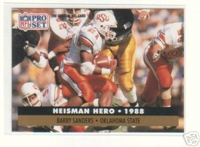 Barry Sanders 1991 Pro Set Football Card # 39 Oklahoma State University - Heisman Hero