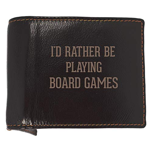 I'd Rather Be Playing BOARD GAMES - Soft Cowhide Genuine Engraved Bifold Leather Wallet (Market Farmville)