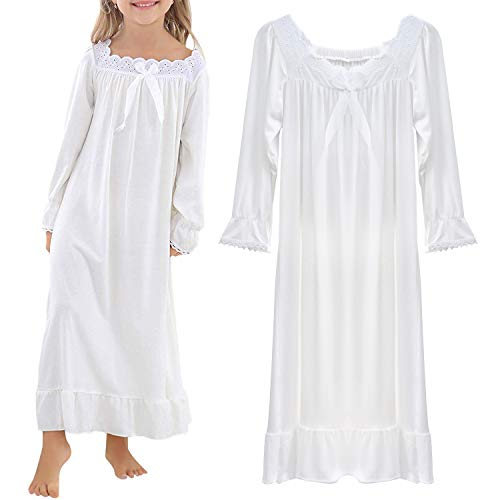 BOOPH Girls Nightgown, Toddler Sleep Dress Princess Nightwear White -