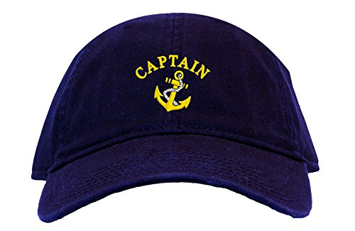 Captain with Ships Anchor Embroidered Low Profile Ball Cap - Navy Blue (Anchor Ball Cap)
