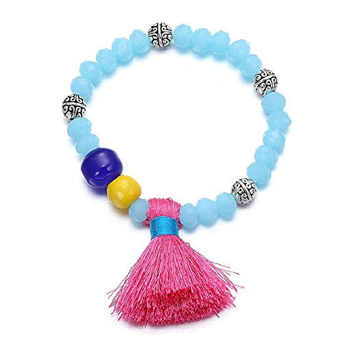 [Yuriao Jewelry Fashion Retro Blue Crystal Beaded Bracelet] (Thailand National Costume For Women)
