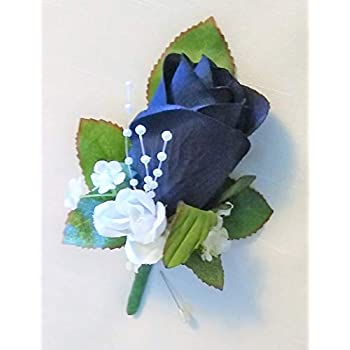 amazoncom navy blue rose boutonniere wedding or prom
