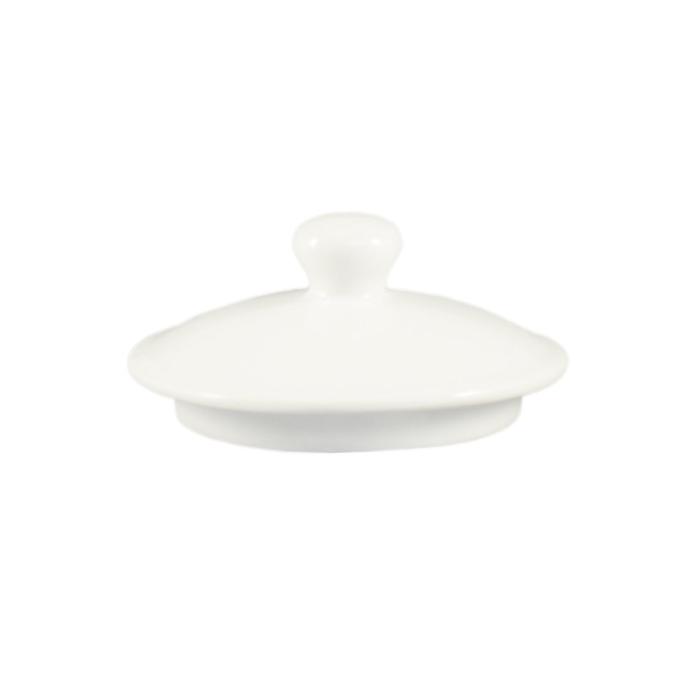 CAC China LN-3-LID Lion Head 3-1/2-Inch by 1-1/2-Inch Super White Porcelain Lid for Lion Head Bouillon, Box of 72
