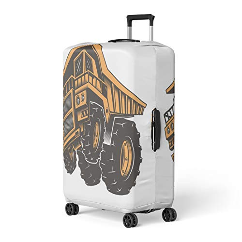 Semtomn Luggage Cover Yellow Huge Aggressive Construction Truck on Back Wheels White Travel Suitcase Cover Protector Baggage Case Fits 26-28 ()