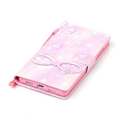 Trumpshop Smartphone Carcasa Funda Protección para Huawei P9 Lite + Campánula + PU Cuero Caja Protector con Ranuras para Tarjetas Choque Absorción I love you