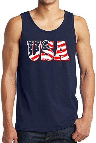New York Fashion Police USA Flag Letter Tank Top Patriotic USA Shirt America 'Merica Tanks Navy XL ()