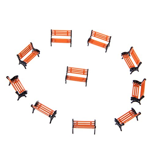 CUTEQ 10pcs 1:100 Street Seats Bench Chair Model Train Platform Layout Settee HO Scale