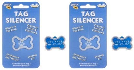 QUICK TAG 2 Pack of ID Tag Silencers, Large - Bone Shape