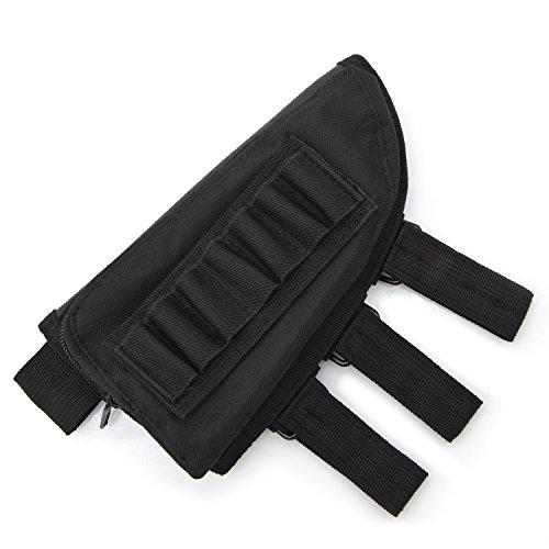 Rifle Stock Pack, Cheek Pad / Buttstock Ammo Holder Pouch, Tactical Buttstock Shotgun Rifle Shell Holder Cheek Rest Pouch (Black)