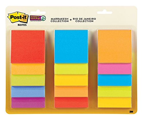 [Post-it Super Sticky Notes, 3 in x 3 in, Assorted Colors, 15 Pads/Pack, 45 Sheets/Pad (654-15SSMULTI)] (Colors Five Pads)